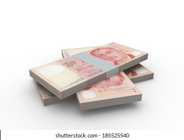 Piles of 3D Singapore money isolated on white background