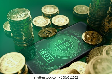 Piles of Bitcoin coins and a smartphone screen with big BUY button on the display. Bitcoin buy opportunities concept. 3D rendering