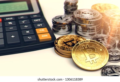 Piles of Bitcoin, other cryptocurrencies and a calculator. Fees and taxes on cryptocurrency investments. 3D rendering
