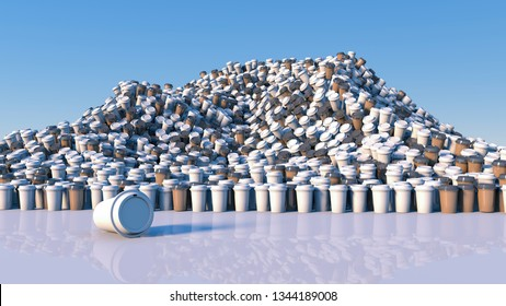 Piles of coffee mugs / concept pollution /3d illustration
