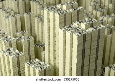 Piles of Dollar bills