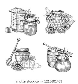 piles of hand drawn honey elements set. Illustration of honey drawing and bee insect