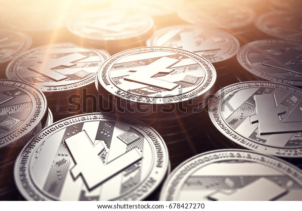 Piles of Litecoin coins (LTC) in blurry closeup. New cryptocurrency and modern banking concept. 3D rendering.