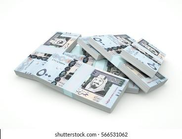 Piles of Saudi Arabia Money isolated on white background