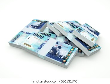 Piles of Taiwan Money isolated on white background