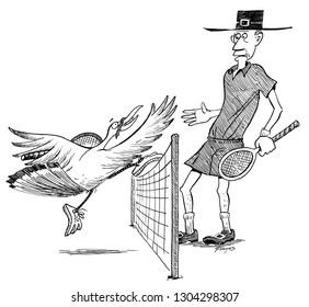 Pilgrim and turkey play tennis