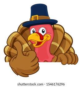 Pilgrim Turkey Thanksgiving bird animal cartoon character wearing a pilgrims hat. Peeking over a background sign and giving a thumbs up