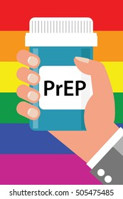 """Pill Bottle over Gay Flag with label """"PrEP"""" (stands for Pre-Exposure Prophylaxis). PreP treatment is used to prevent HIV infection"""