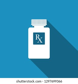 Pill bottle with Rx sign and pills icon isolated with long shadow. Pharmacy design. Rx as a prescription symbol on drug medicine bottle. Flat design