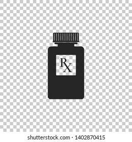 Pill bottle with Rx sign and pills icon isolated on transparent background. Pharmacy design. Rx as a prescription symbol on drug medicine bottle. Flat design