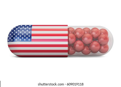 Pill capsule with USA flag. US Health care concept, 3D rendering