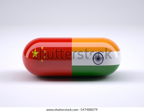 Pill with the Chinese and Indian flag wrapped around it, 3d illustration