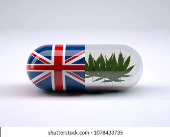 Pill with England flag wrapped around it and marijuana leafs inside, 3d illustration