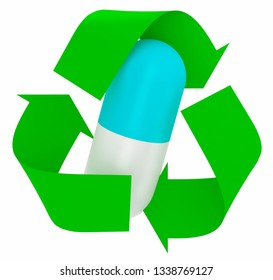 pill inside symbol recycle isolated on white background, 3d illustration