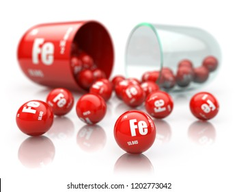 Pill with iron FE element.  Dietary supplements. Vitamin capsule isolated on white. 3d illustration