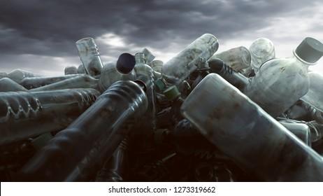 A pill of plastic bottles