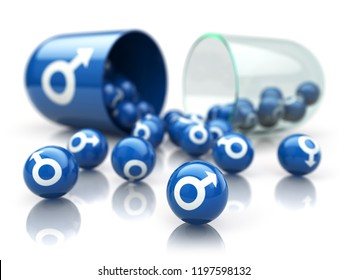 Pill for sex,  increase in potency and erection concept. Capsule with male symbol. Medication for erectile dysfunction. 3d Illustration