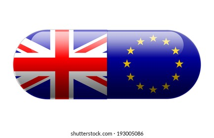 Pill wrapped in Union Jack and European Union Flags