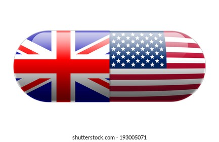 Pill wrapped in Union Jack and USA Flags