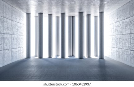 pillar in concrete room 3d rendering image