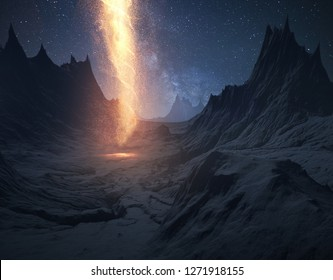 The pillar of fire leads the way in the night. Digital 3D illustration