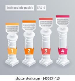 Pillar infographic. Isometric of pillar infographic for web design