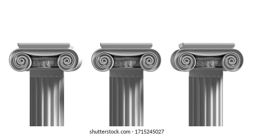 Pillars pedestals, ancient greek stone marble, three ionic style column part isolated against white color background, Presentation ad template. 3d illustration