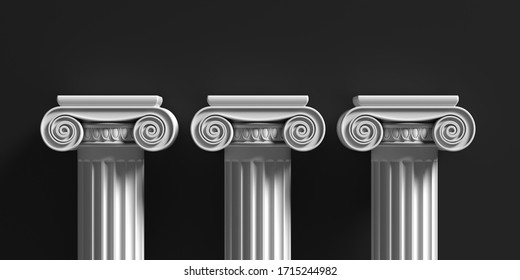 Pillars pedestals, ancient greek white color stone marble, three ionic style column part against black background, Presentation ad template. 3d illustration