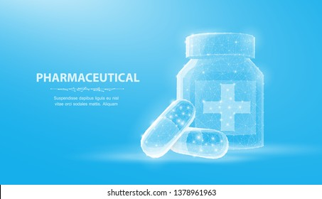 Pills. Abstract 3d illustration two capsule pills near bottle isolated on blue background. Medical, pharmacy, health, vitamin, antibiotic, pharmaceutical, treatment concept
