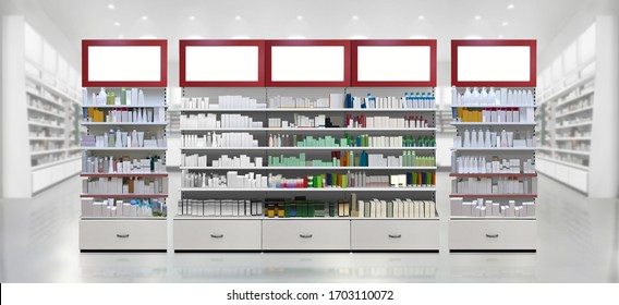 Pills, Drugs, Supplements, Skincare and Cosmetic products on shelf in pharmacy store. illustration and mockup 3D render Suitable for presenting new products, designs, labels among many others.