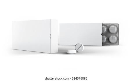 Pills Package Blister Box Mock-Up 3D illustration