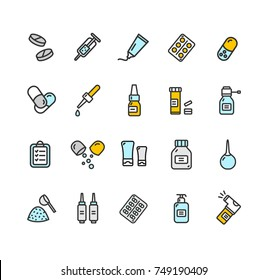 Pills Related Medical Color Thin Line Icon Set Health Care Isolated on White Background. illustration