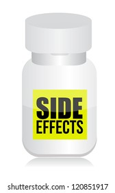 pills with side effects sign illustration design over white