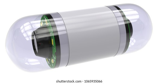 Pill-sized camera for capsule endoscopy isolated on white. 3D rendering