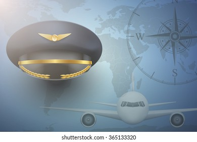Pilot aircraft civil aviation background. Peaked Cap on map.