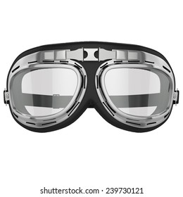 Pilot goggles. Vintage retro aviation bike goggles. Old leather race goggles.