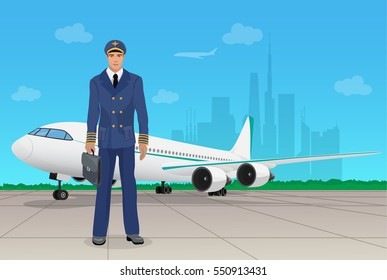 Pilot in uniform near airplane at the airport.  illustration.