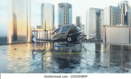 Pilotless passenger drone makes a departure for the call of the client. The concept of the future unmanned air taxi. 3D Rendering
