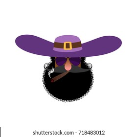 Pimp head isolated. Eccentric man with beard and wearing hat. Trendy African American man