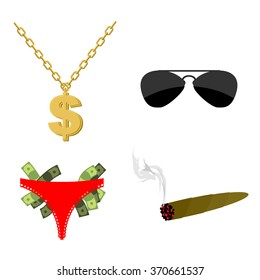Pimps set Accessory. Dollar sign on chain. Panties strippers and  lot of money. Sunglasses and cigar. Attributes for rapper and hip hop musicians.