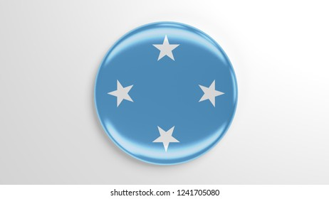 Pin badge with flag 3D illustration. Flag of Federated States of Micronesia