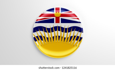 Pin badge with flag 3D illustration. Flag of the British Columbia