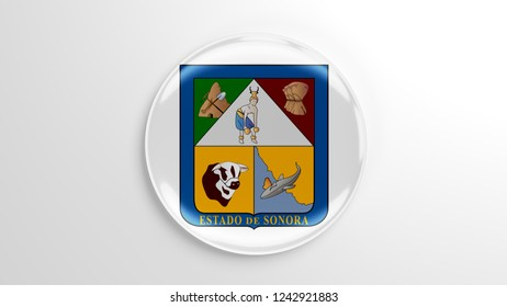 Pin badge with flag 3D illustration. Flag of Sonora