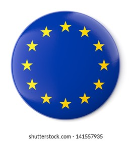 A pin button with the flag of Europe. Isolated on white background with clipping path.