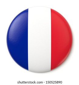 A pin button with the flag of the French Republic. Isolated on white background with clipping path.