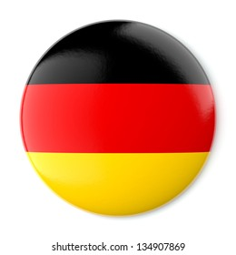 A pin button with the flag of Germany. Isolated on white background with clipping path.