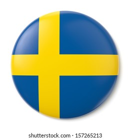 A pin button with the flag of the Kingdom of Sweden. Isolated on white background with clipping path.