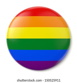 A pin button with the flag of the LGBT movement. Isolated on white background with clipping path.