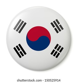 A pin button with the flag of the Republic of Korea. Isolated on white background with clipping path.