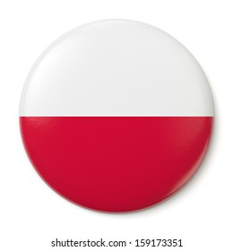 A pin button with the flag of the Republic of Poland. Isolated on white background with clipping path.